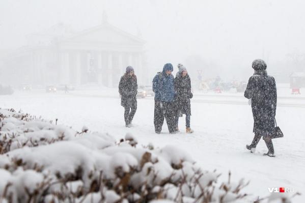 До Волгограда дошел первый снегопад