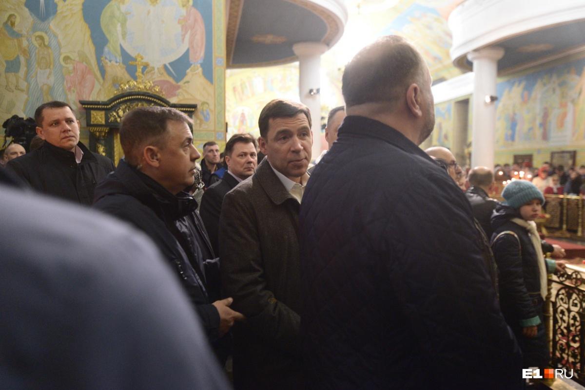 Губернатор Евгений Куйвашев тоже присутствовал на литургии