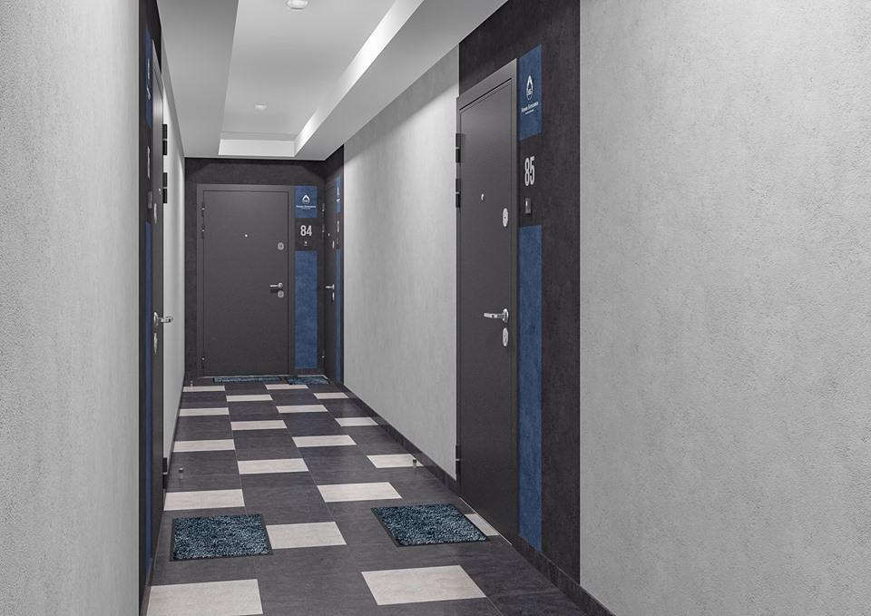 А вот такую отделку получат этажные холлы «сапфирового» дома