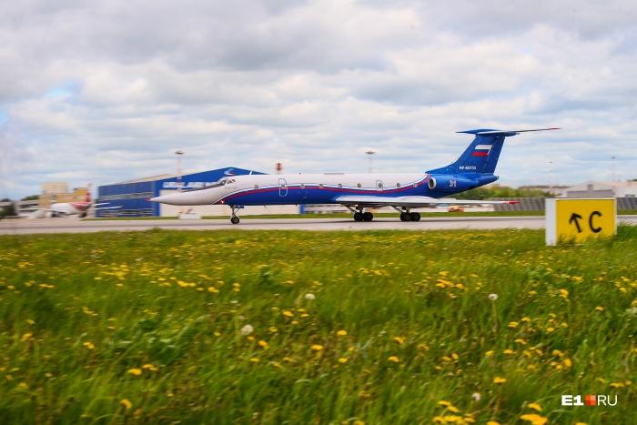 Первым мы увидели взлет Ту-134