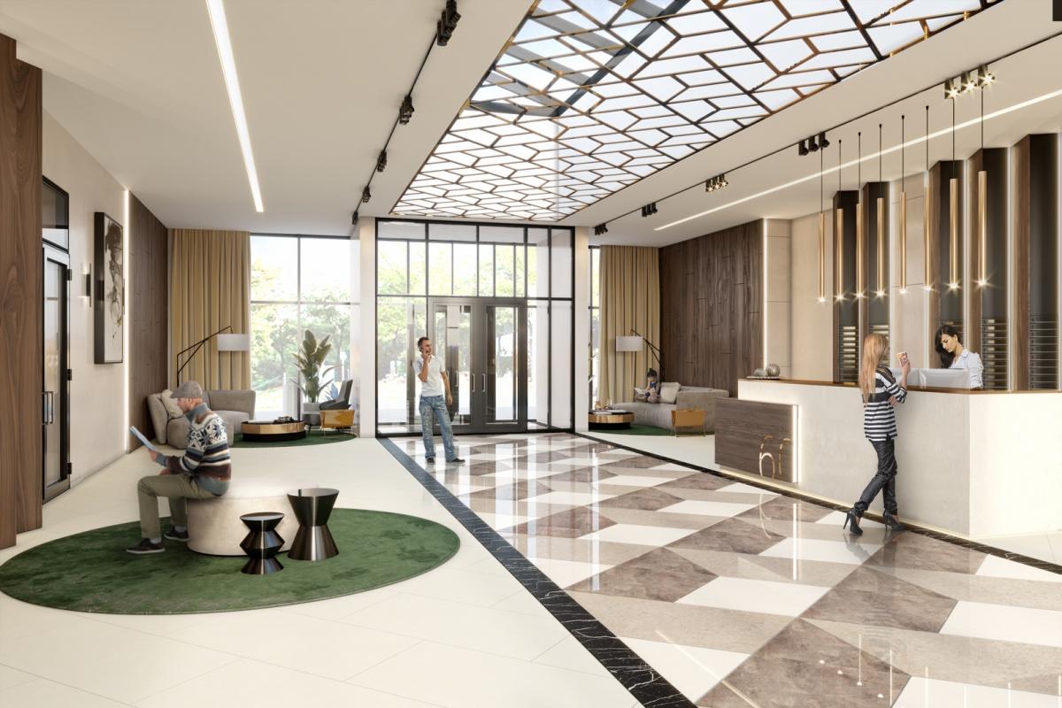 Высота потолка ввестибюле — 4,5 м. Здесь расположены почтовые ящики, стойка администратора иколясочная. Есть место для отдыха, где удобно принять курьера или подождать такси