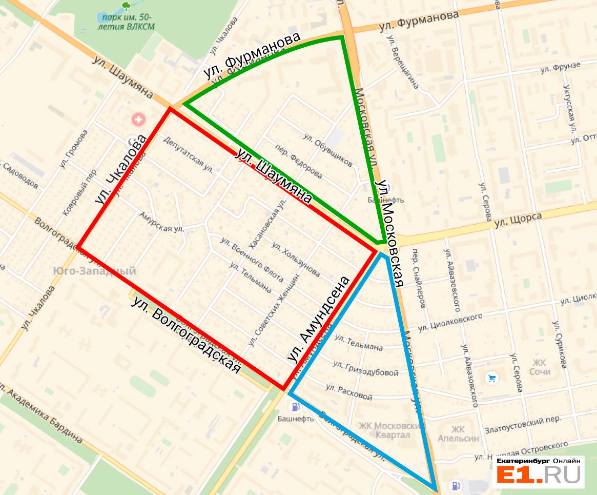 Карта застройки Цыганского посёлка: зеленый треугольник застраивает «Брусника», синий — «Московский квартал», а красный квадрат достался создателям «Гринвича»