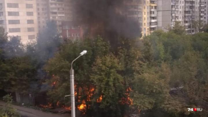 «Кто-то выжигает дома»: рядом со стройкой в Челябинске разгорелся пожар