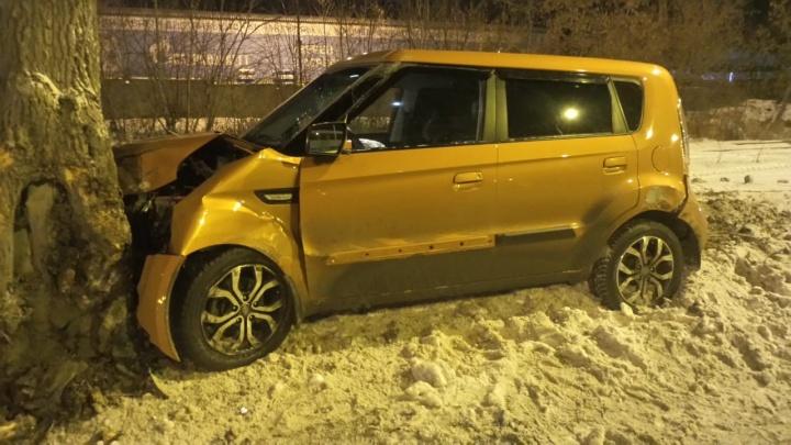 В Базовом переулке Lexus снес Kia с дороги: оба автомобиля влетели в деревья