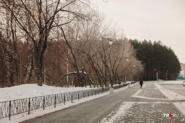 В Затюменском парке внимание посетителей привлекла ошибка на баннере