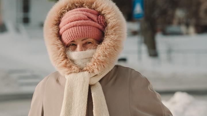 18 морозных кадров, как тюменцы в -30 покрываются инеем, кутаются в шарфы и кормят птичек