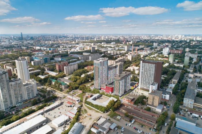 Вид на жилой квартал «Комсомольская, 67» с высоты птичьего полета