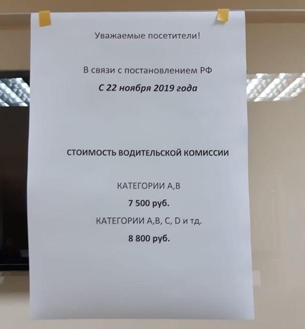 Пример объявления в одной их наркологических больниц: цена медосмотра составляет 7 500–8 500 рублей