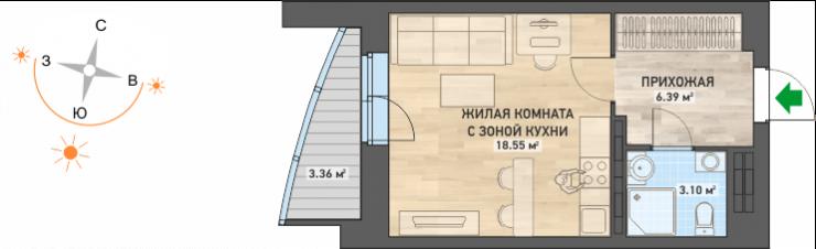 На секретной распродаже можно будет купить студию в ЖК «Просторы» по цене от 2 470 000 рублей (с учетом скидки 5% при полной оплате в течение месяца или ипотеке)