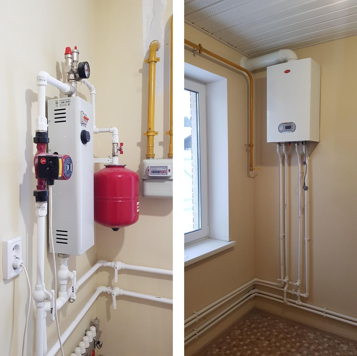 Образец устройства котельной с газовым и резервным электрическими котлами в типовом доме