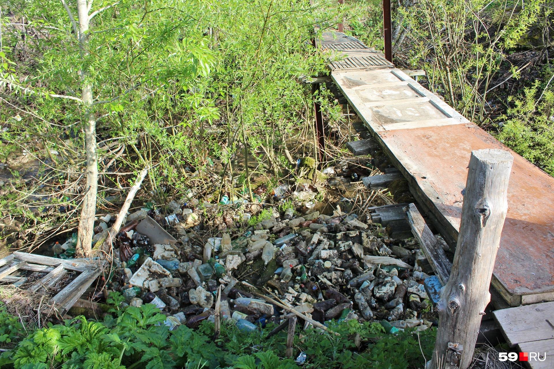 Вот кончились дома, вот мостик через речушку (под мусором журчит вода)