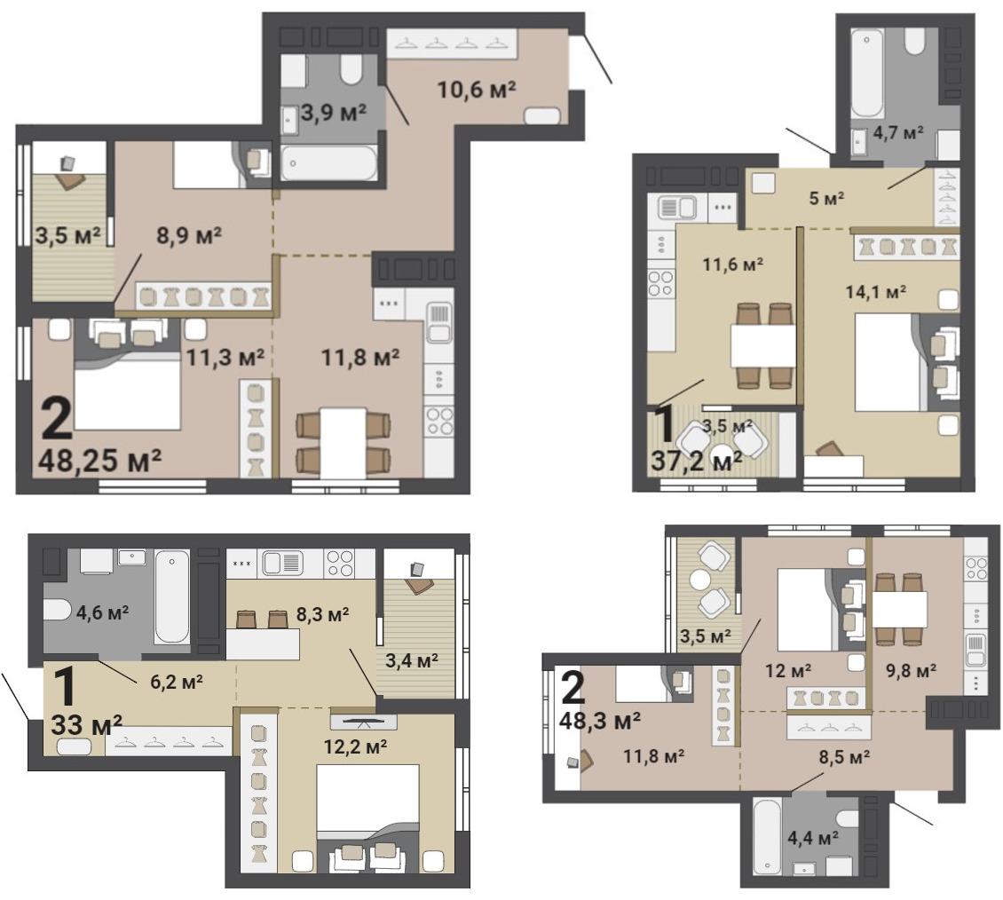 Варианты зонирования одно- и двухкомнатных квартир «Малевича»