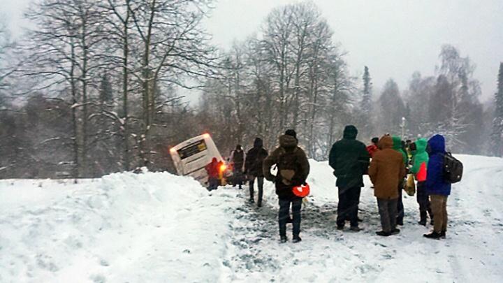 Автобус с новосибирцами вылетел с трассы и врезался в дерево по пути в Шерегеш