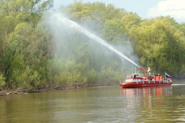 Спасатели отрабатывали навыки борьбы с огнем в лесу