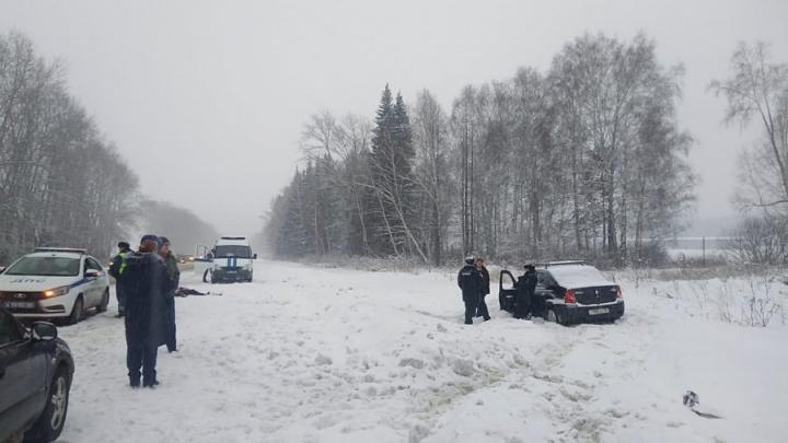 Появилось видео аварии на трассе Екатеринбург — Курган, где машина насмерть сбила женщину