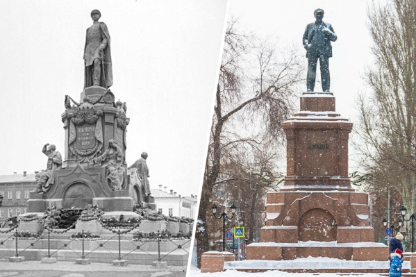 На постамент, где некогда стояла скульптура императора, после революции водрузили статую Ленина