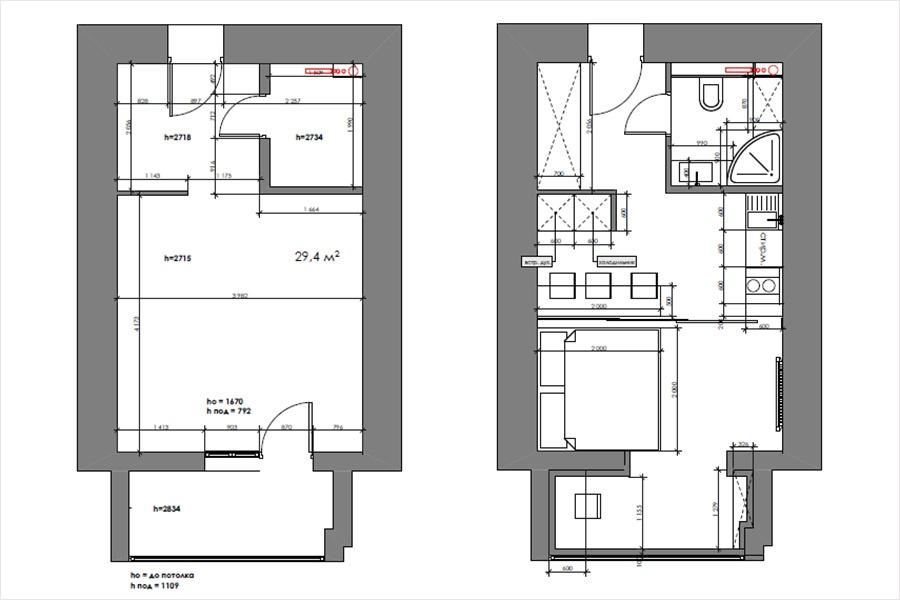 Из 29 кв. м кухонная зона занимает 8 кв. м, спальня — 8,7 кв. м, кабинет на балконе — 4,4 кв. м, ванная — 3 кв. м, коридор — 4,9 кв. м. Чтобы сделать ремонт и обставить квартиру, потребовалось 3 месяца.