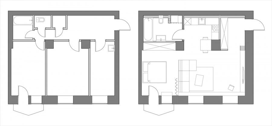 В квартире Сергея (54 кв. м) было две комнаты, кухня и раздельный санузел (слева: старая планировка). Между комнатами и кухней сломали стены и сделали единое большое пространство (по оценке хозяина — 36–38 кв. м), где зону спальни отделяет штора, в перспективе, возможно, появится стеклянная стена. Коридор уменьшился в размерах в пользу кухни. Санузел объединили.