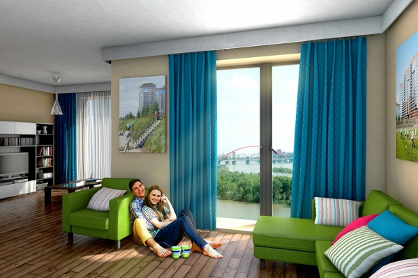 Квартиры в новом доме — просторные, с высокими потолками 2,9 м и французскими окнами в пол