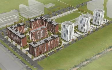 В 2012 году планируется начать строительство еще четырех кирпичных домов из первой очереди (высота 9 и 10 этажей)