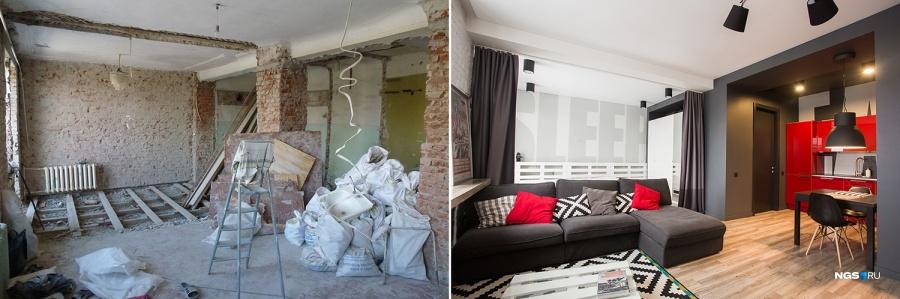 Перед тем как заехать в квартиру, ремонт делали 8 месяцев. Из квартиры вывезли сотни мешков строительного мусора — два КамАЗа и одну «ГАЗель». Здесь сносили межкомнатные стены, вскрывали и выравнивали полы — из-за того, что перепад высоты в разных комнатах составлял 5 см. Для стен и пола сделали дополнительную звукоизоляцию с помощью минеральной ваты, стены обшили гипсокартоном, потолок сделали натяжным. В итоге его высота вместо 3 м стала около 2,9.