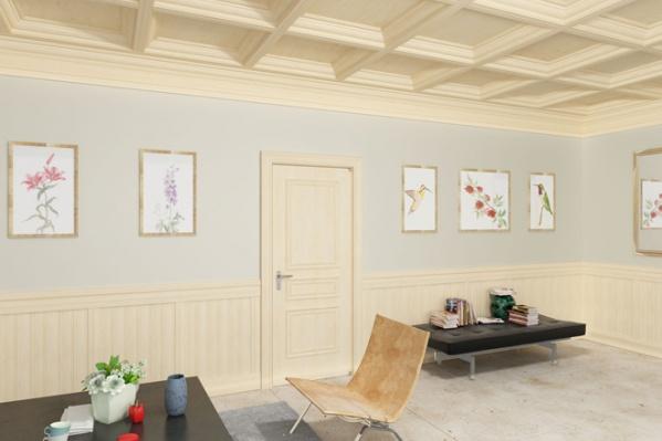 Стены – интерьерная панель. Модель Лорд. Цвет Клен Потолок – кессоны с фигурной рамкой. Цвет Клен.