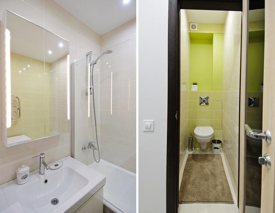 Владелец третьей квартиры тоже не захотел объединять туалет и ванную. В дизайн-студии Mango, где создавали интерьер, рассказали, что площадь ванной — 2,9 кв. м, санузла — 1,2 кв. м. Площадь квартиры вместе с балконом — 43 кв. м, кухня занимает 9,5 кв. м, комната — 15,2, коридор с гардеробной — 7,4 кв. м. Авторы интерьера — Наталья Цецулина и Мария Малышкина.