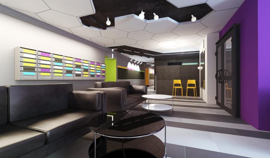 Как добавляет архитектор проекта Татьяна Лейтан, из-за кризиса сильно скакнули цены на материалы, в итоге антивандальный материал на входе заменили на обычную керамическую плитку, упростили геометрию потолка, но идею ярких пятен-зонирования удалось сохранить.