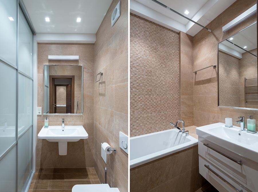 Плитку в санузле решили не делать разной: когда много слишком разных цветов и фактур, пространство становится перегруженным. В ванной использована керамическая плитка испанской фабрики Porselаnosa. Эта плитка имитирует натуральный камень и создает объемную мозаику.