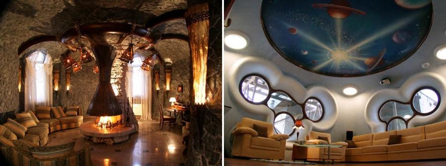 Как описывается на сайте «Золотой капители», изолированы здесь только спальни, санузлы, бассейн и «космический зал» на 1-м этаже, остальные помещения — кухня, «кафе для двоих», средневековый каминный зал — плавно перетекают друг в друга. Весь 2-й этаж занимает шоу-зал с баром, эстрадой, танцполом и гримерной.