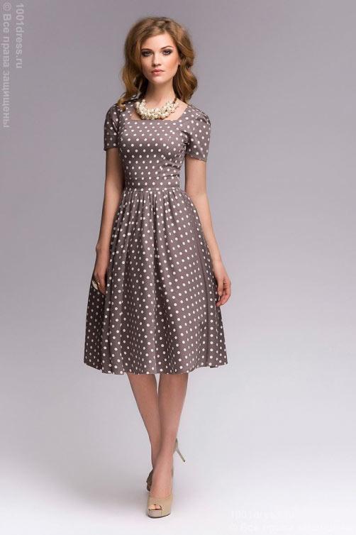 Платье с юбкой присборенной на талии