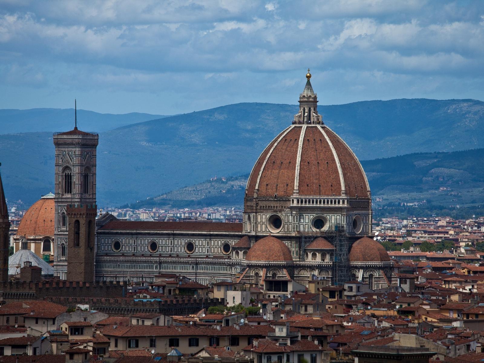 Обои собор санта-мария-дель-фьоре, купол, флоренция, дома, колокольня Джотто. Города foto 14